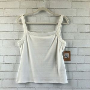 Reformation Rochelle White Ribbed Tank Top XL NWT